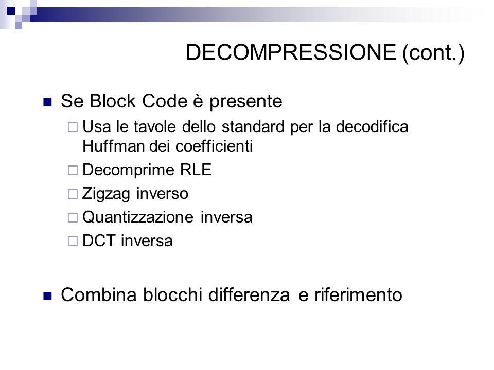 DECOMPRESSIONE (cont.) Se Block Code è presente Usa le tavole dello standard per la decodifica Huffman dei coefficienti Decomprime RLE Zigzag inverso Quantizzazione inversa DCT inversa Combina blocchi differenza e riferimento