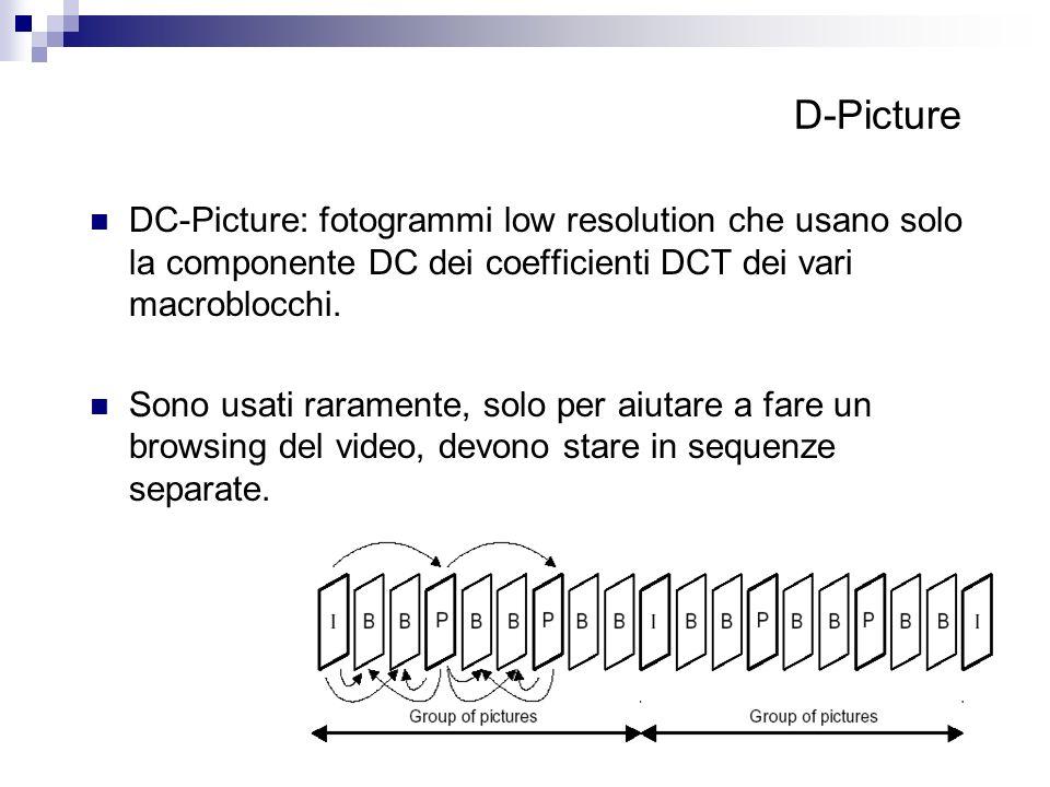 D-Picture DC-Picture: fotogrammi low resolution che usano solo la componente DC dei coefficienti DCT dei vari macroblocchi. Sono usati raramente, solo