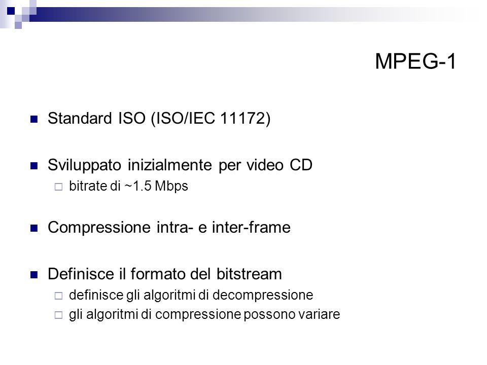 MPEG-1 Standard ISO (ISO/IEC 11172) Sviluppato inizialmente per video CD bitrate di ~1.5 Mbps Compressione intra- e inter-frame Definisce il formato d