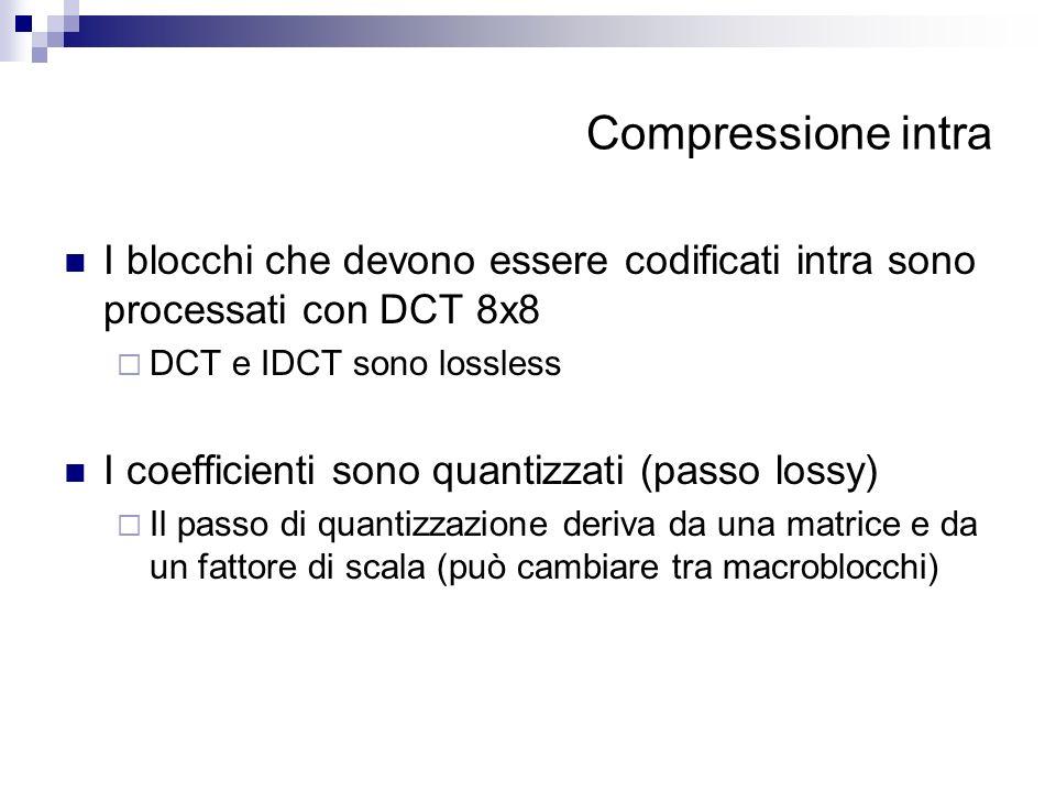 Compressione intra I blocchi che devono essere codificati intra sono processati con DCT 8x8 DCT e IDCT sono lossless I coefficienti sono quantizzati (