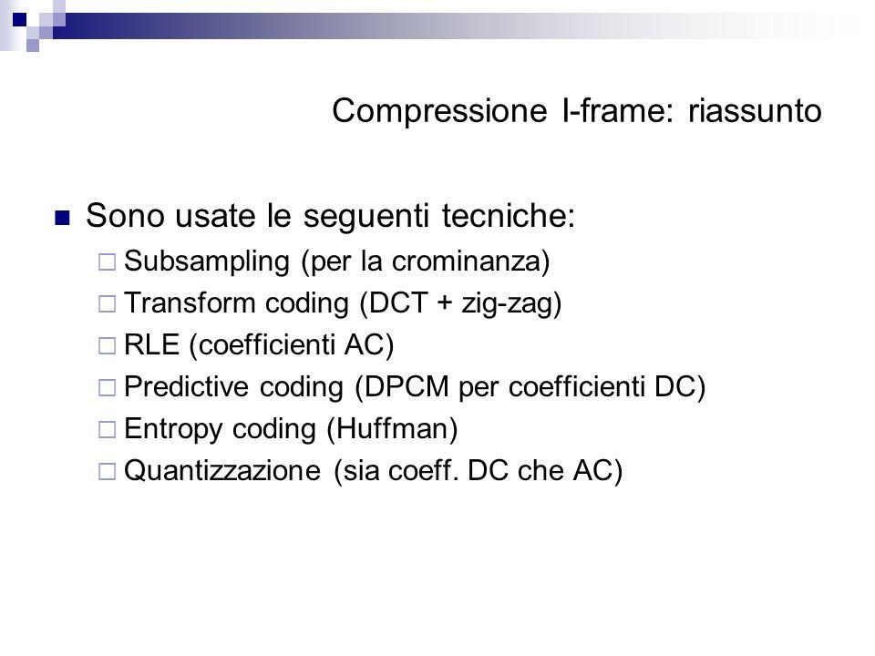 Compressione I-frame: riassunto Sono usate le seguenti tecniche: Subsampling (per la crominanza) Transform coding (DCT + zig-zag) RLE (coefficienti AC