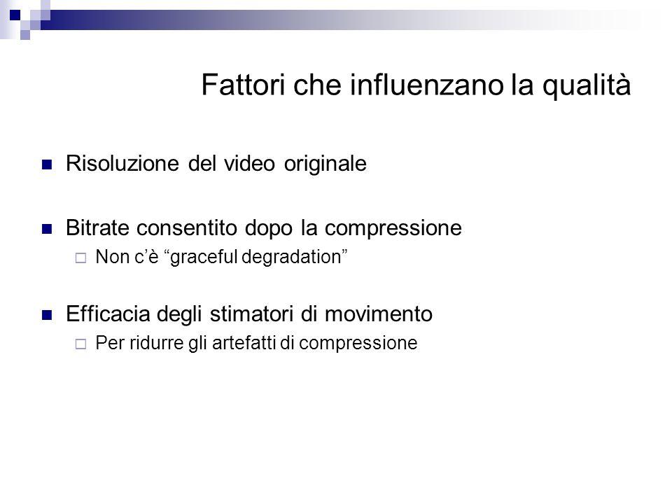 Fattori che influenzano la qualità Risoluzione del video originale Bitrate consentito dopo la compressione Non cè graceful degradation Efficacia degli