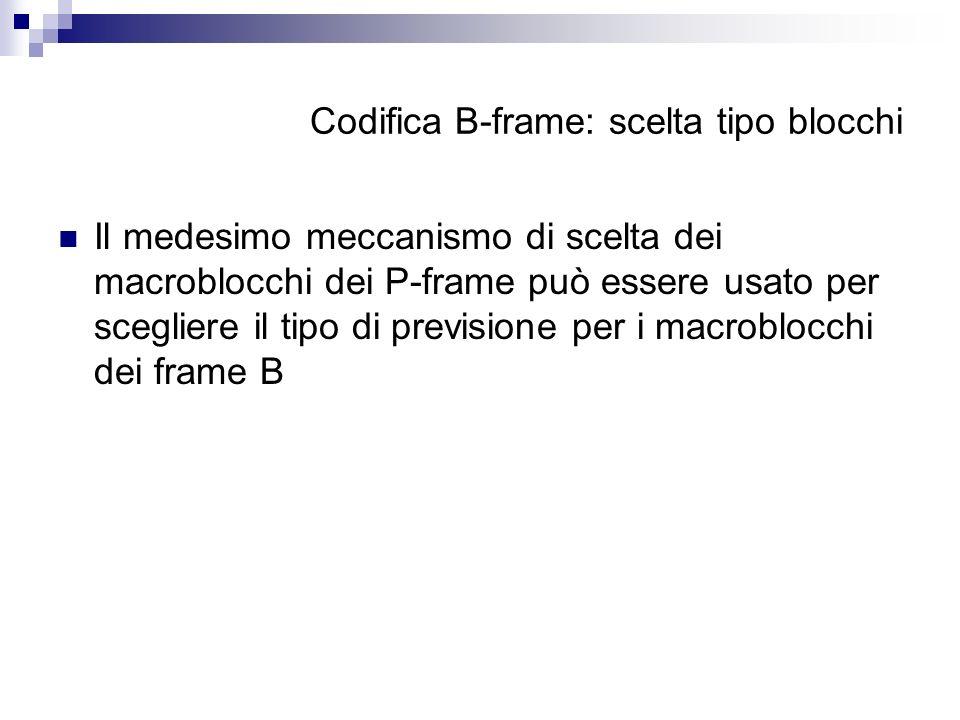 Codifica B-frame: scelta tipo blocchi Il medesimo meccanismo di scelta dei macroblocchi dei P-frame può essere usato per scegliere il tipo di previsio