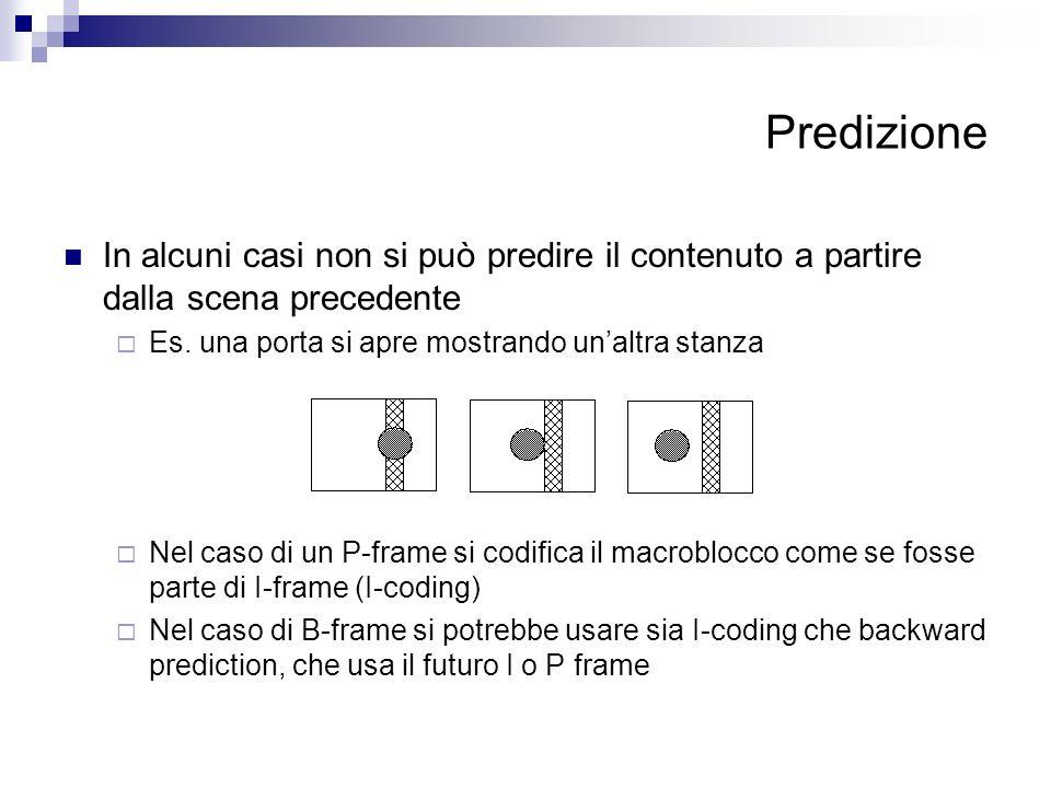 Predizione In alcuni casi non si può predire il contenuto a partire dalla scena precedente Es. una porta si apre mostrando unaltra stanza Nel caso di