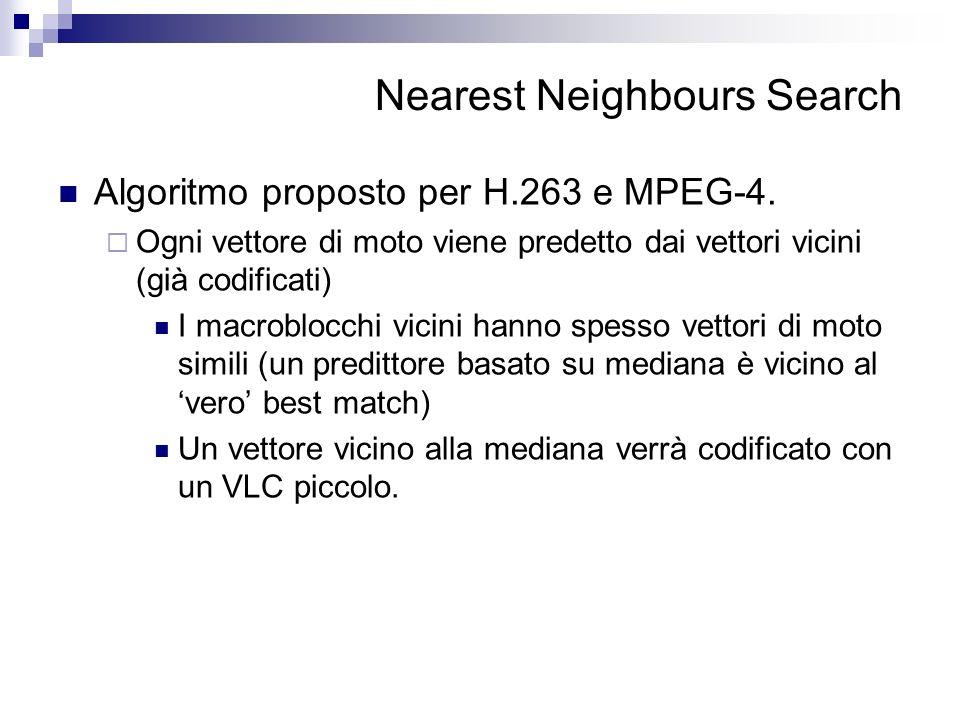 Nearest Neighbours Search Algoritmo proposto per H.263 e MPEG-4. Ogni vettore di moto viene predetto dai vettori vicini (già codificati) I macroblocch