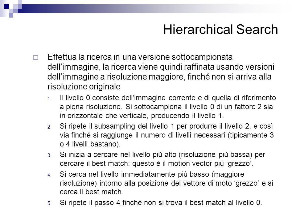 Hierarchical Search Effettua la ricerca in una versione sottocampionata dellimmagine, la ricerca viene quindi raffinata usando versioni dellimmagine a
