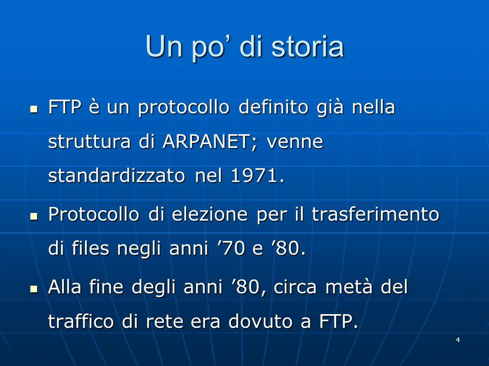 4 Un po di storia FTP è un protocollo definito già nella struttura di ARPANET; venne standardizzato nel 1971. FTP è un protocollo definito già nella s