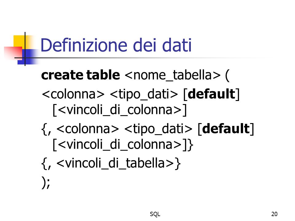 SQL20 Definizione dei dati create table ( [default] [ ] {, [default] [ ]} {, } );