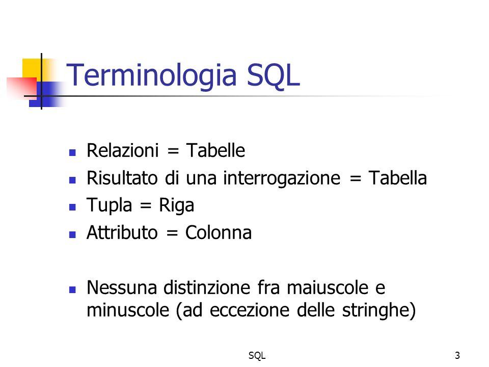 SQL3 Terminologia SQL Relazioni = Tabelle Risultato di una interrogazione = Tabella Tupla = Riga Attributo = Colonna Nessuna distinzione fra maiuscole e minuscole (ad eccezione delle stringhe)