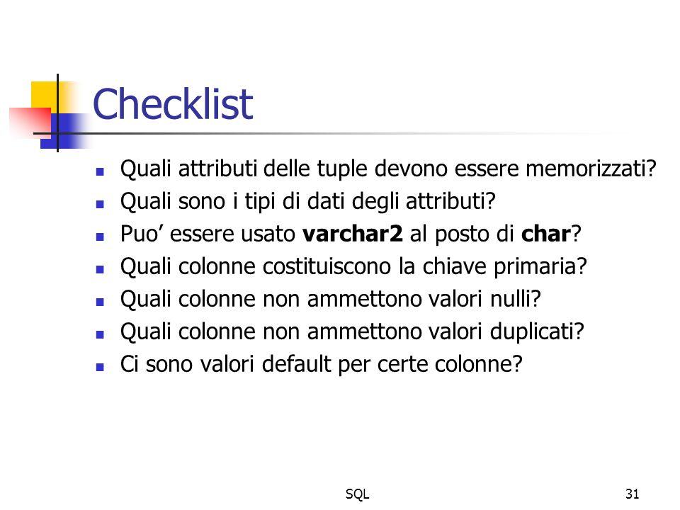 SQL31 Checklist Quali attributi delle tuple devono essere memorizzati.