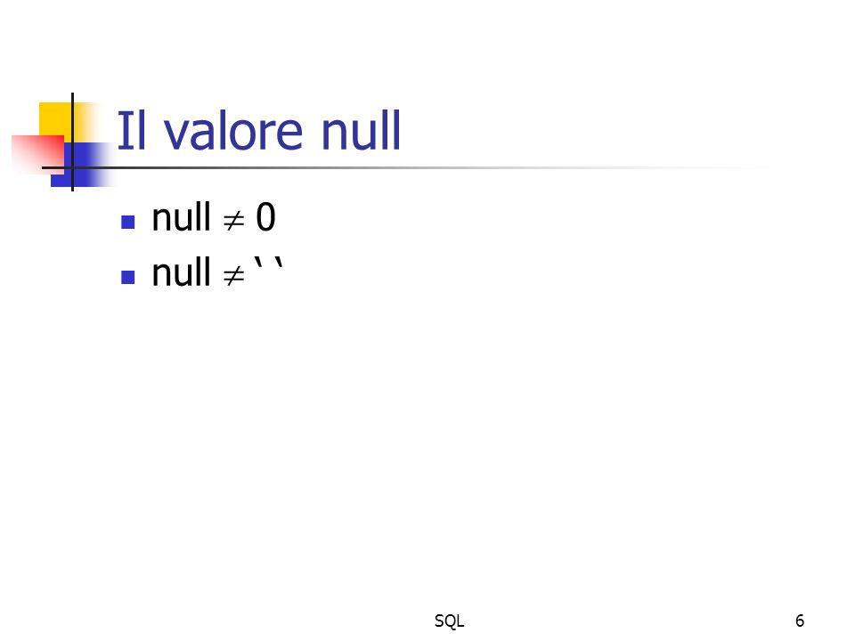 SQL17 Funzioni di gruppo Operano su un gruppo di righe calcolando un singolo valore da un insieme di valori di una colonna count: conta il numero di righe per una colonna select count(*) from IMPIEGATI; select count(distinct LAVORO) from IMPIEGATI; select count(*) from IMPIEGATI where LAVORO= VENDITORE ; conta anche eventuali valori null