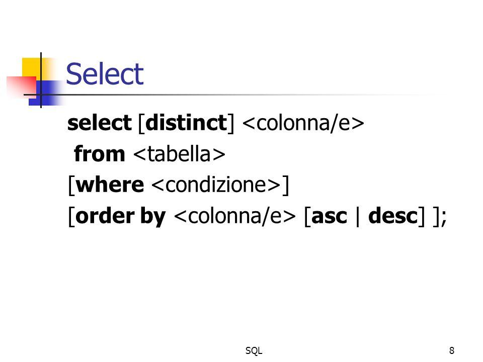 SQL9 Esempi: selezione di colonne select CITTA, DIPNO from DIPARTIMENTO; select * from IMPIEGATI; select INOME, DIPNO, STIPENDIO*12 as SALARIO_ANNUO from IMPIEGATI;