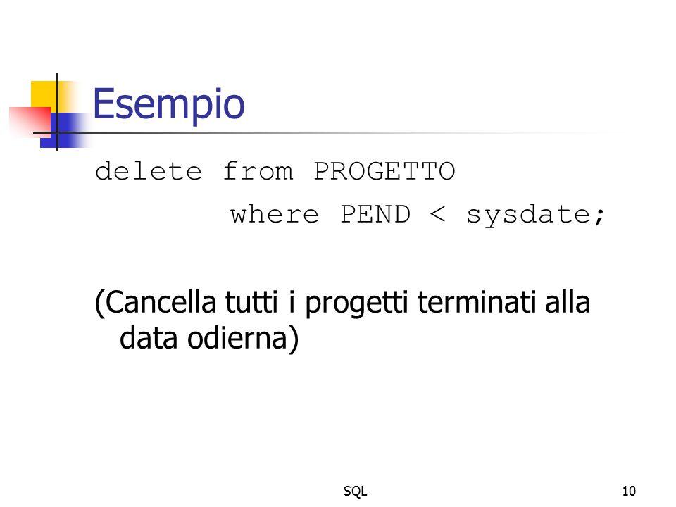 SQL10 Esempio delete from PROGETTO where PEND < sysdate; (Cancella tutti i progetti terminati alla data odierna)