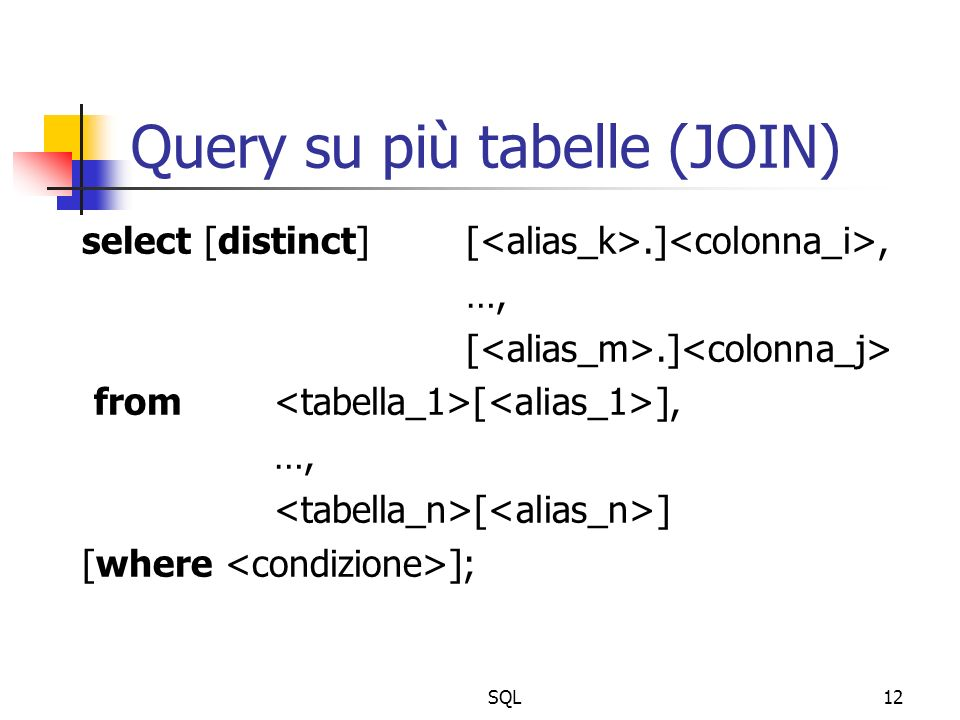SQL12 Query su più tabelle (JOIN) select [distinct] [.], …, [.] from [ ], …, [ ] [where ];