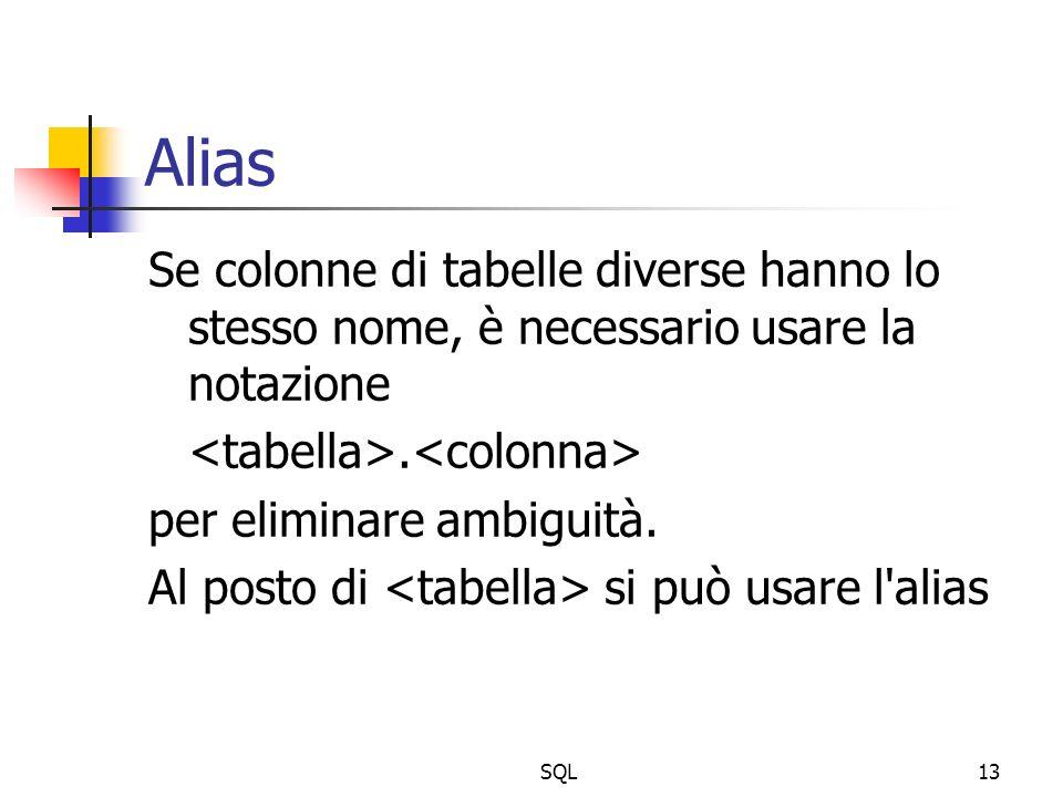 SQL13 Alias Se colonne di tabelle diverse hanno lo stesso nome, è necessario usare la notazione. per eliminare ambiguità. Al posto di si può usare l'a