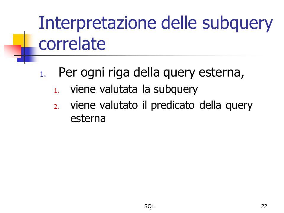 SQL22 Interpretazione delle subquery correlate 1. Per ogni riga della query esterna, 1. viene valutata la subquery 2. viene valutato il predicato dell