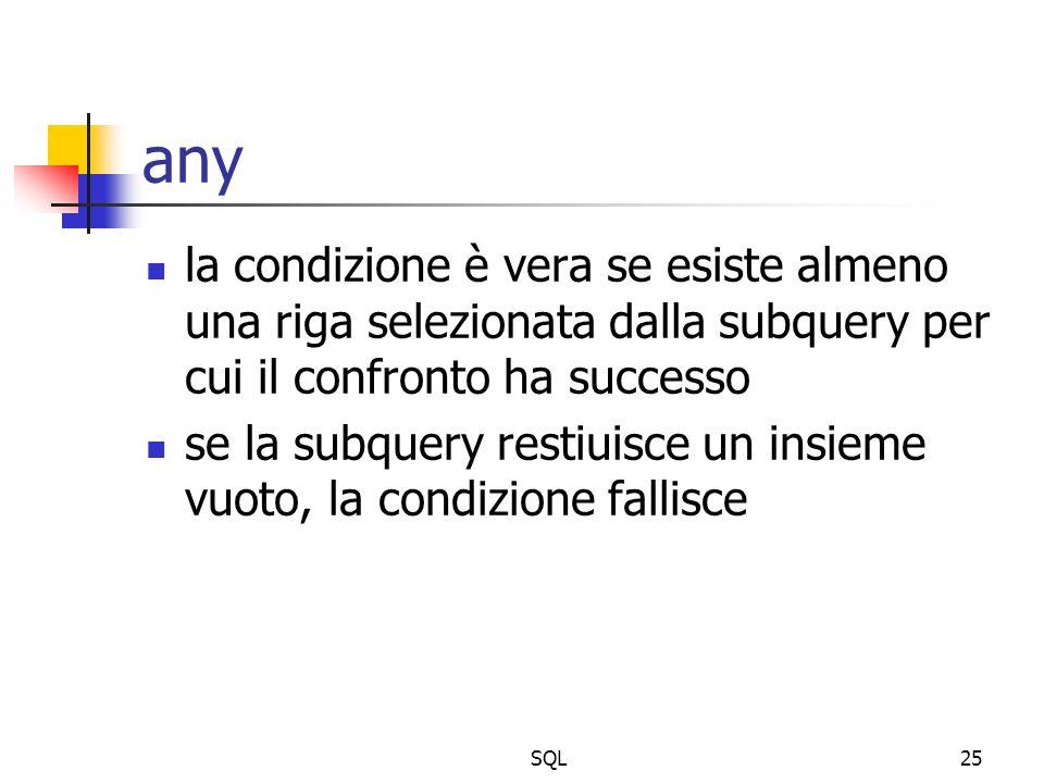 SQL25 any la condizione è vera se esiste almeno una riga selezionata dalla subquery per cui il confronto ha successo se la subquery restiuisce un insi