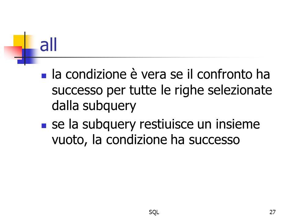SQL27 all la condizione è vera se il confronto ha successo per tutte le righe selezionate dalla subquery se la subquery restiuisce un insieme vuoto, l