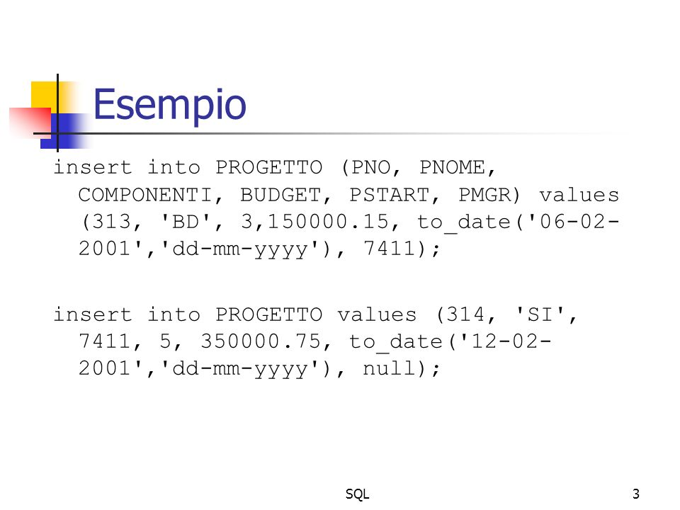 SQL14 Esempi select INOME, I.DIPNO, DIPNOME from IMPIEGATI I, DIPARTIMENTO D where I.DIPNO=D.DIPNO and LAVORO= VENDITORE ; select INOME, DIPNOME, PNOME from IMPIEGATI I, DIPARTIMENTO D, PROGETTO P where I.INO=P.PMGR and D.DIPNO=I.DIPNO; select I1.INOME, I2.INOME from IMPIEGATI I1, IMPIEGATI I2 where I1.CAPO=I2.INO;