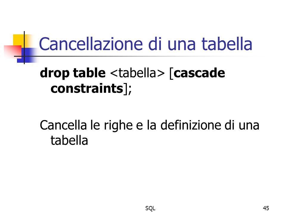 SQL45 Cancellazione di una tabella drop table [cascade constraints]; Cancella le righe e la definizione di una tabella