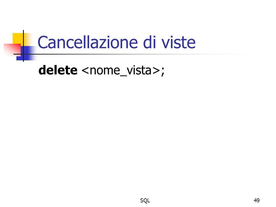 SQL49 Cancellazione di viste delete ;