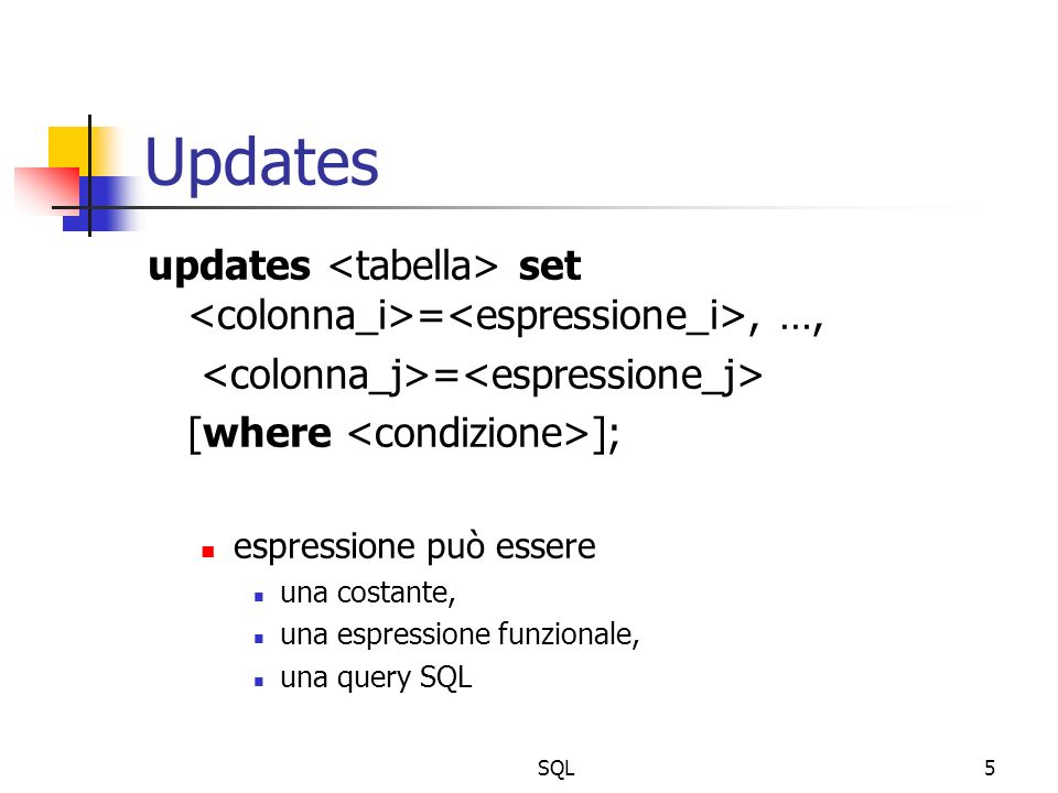 SQL5 Updates updates set =, …, = [where ]; espressione può essere una costante, una espressione funzionale, una query SQL
