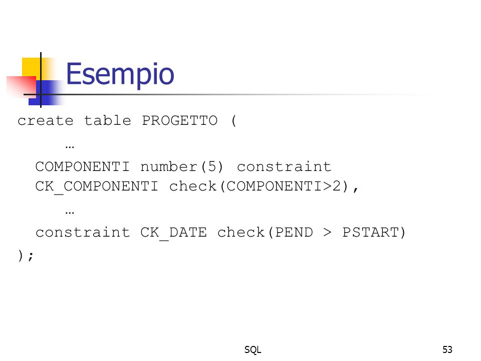 SQL53 Esempio create table PROGETTO ( … COMPONENTI number(5) constraint CK_COMPONENTI check(COMPONENTI>2), … constraint CK_DATE check(PEND > PSTART) )