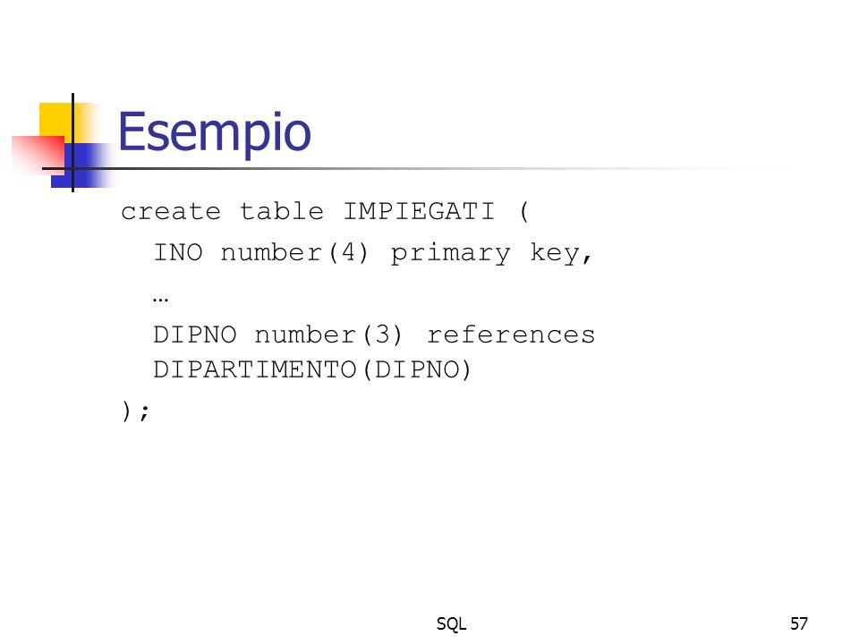 SQL57 Esempio create table IMPIEGATI ( INO number(4) primary key, … DIPNO number(3) references DIPARTIMENTO(DIPNO) );