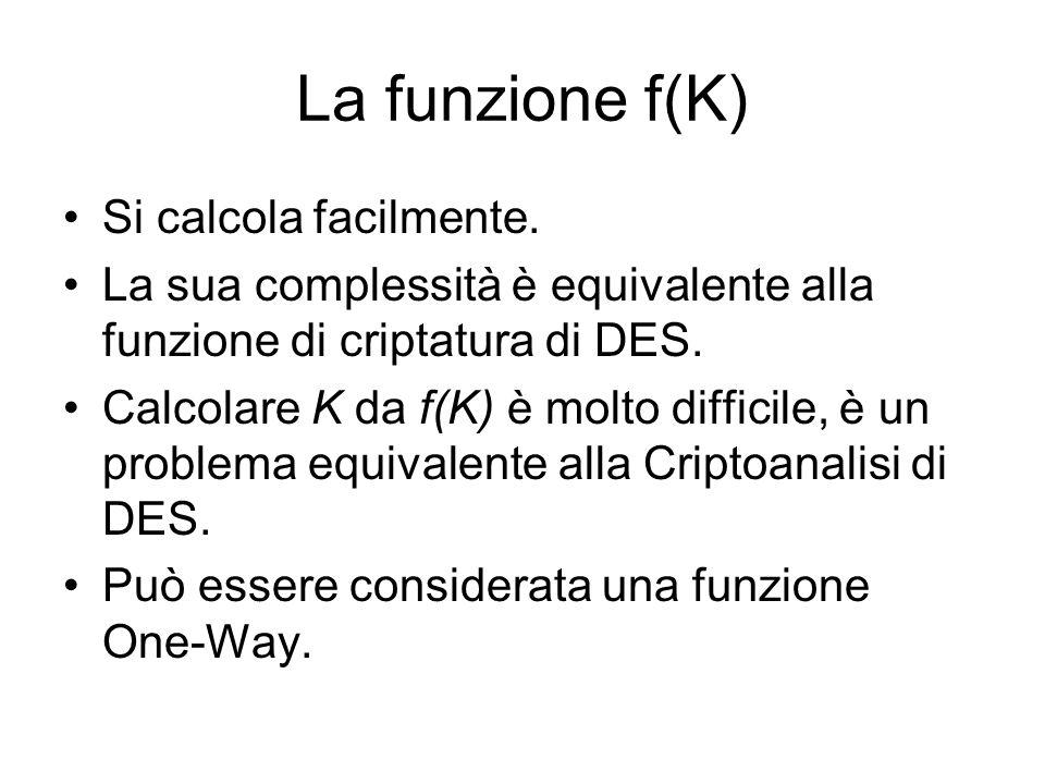 La funzione f(K) Si calcola facilmente. La sua complessità è equivalente alla funzione di criptatura di DES. Calcolare K da f(K) è molto difficile, è