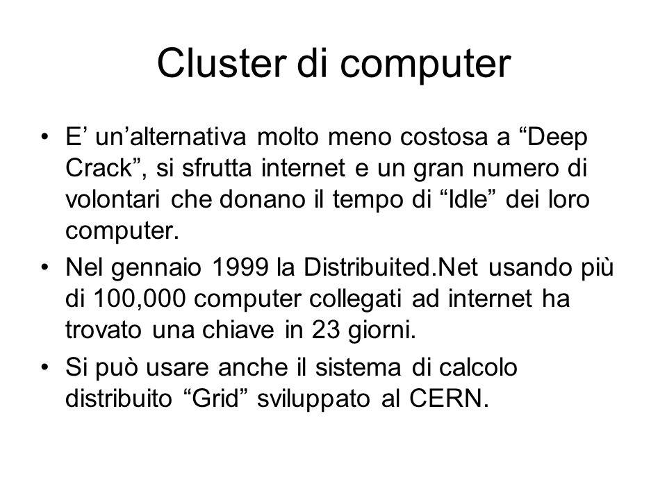 Cluster di computer E unalternativa molto meno costosa a Deep Crack, si sfrutta internet e un gran numero di volontari che donano il tempo di Idle dei