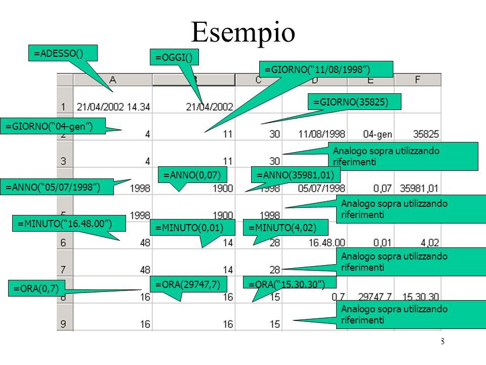 108 Esempio =ADESSO() =OGGI() =GIORNO(04-gen) =GIORNO(11/08/1998) =GIORNO(35825) Analogo sopra utilizzando riferimenti =ANNO(05/07/1998) =ANNO(0,07)=ANNO(35981,01) Analogo sopra utilizzando riferimenti =MINUTO(16.48.00) =MINUTO(0,01)=MINUTO(4,02) Analogo sopra utilizzando riferimenti =ORA(0,7) =ORA(29747,7)=ORA(15.30.30) Analogo sopra utilizzando riferimenti