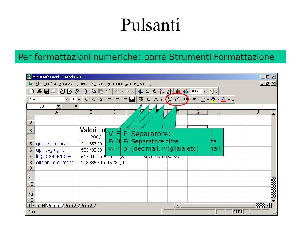 130 Pulsanti Per formattazioni numeriche: barra Strumenti Formattazione Valuta: Formatta i numeri come valuta.