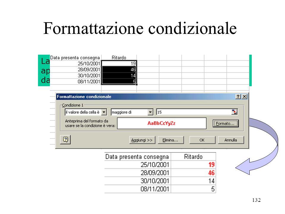 132 Formattazione condizionale La formattazione condizionale numerica permette di applicare un formato di visualizzazione che dipende dal valore contenuto nella cella formattata.