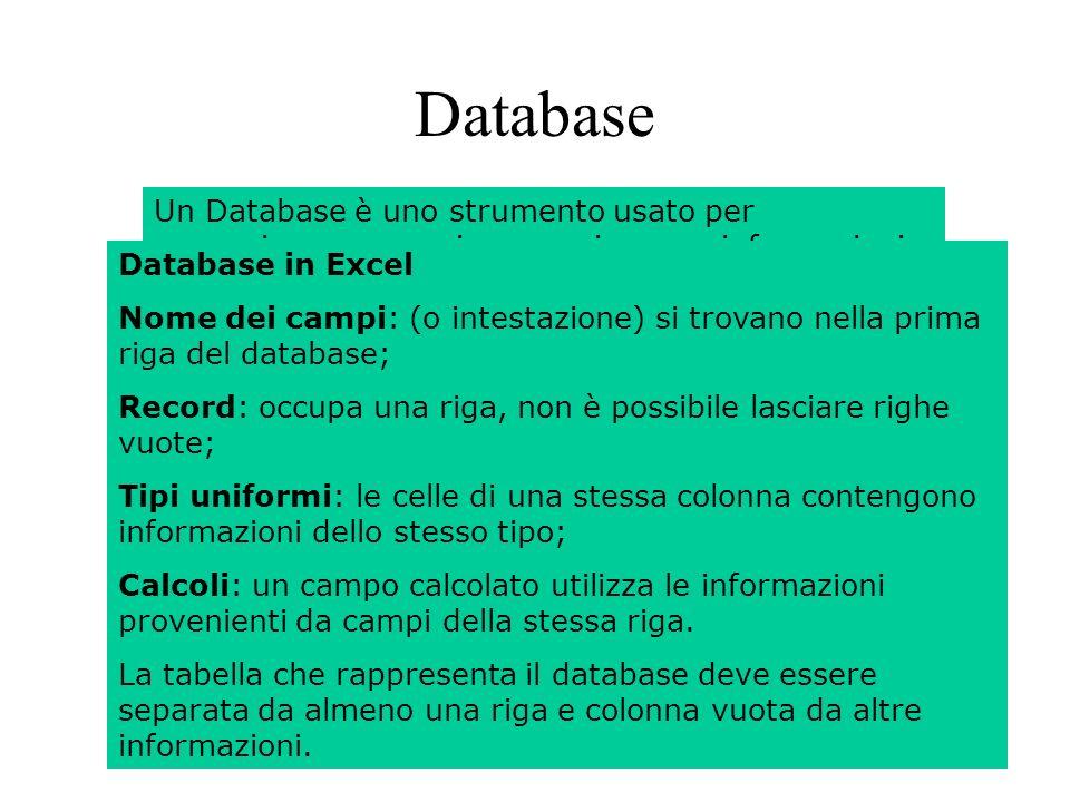 136 Database Un Database è uno strumento usato per memorizzare, organizzare e ricercare informazioni.