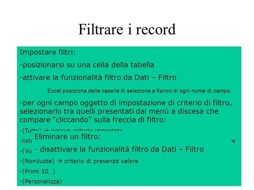 144 Filtrare i record Filtrare un database permette di visualizzare solo i record soddisfacenti criteri impostati dallutente.