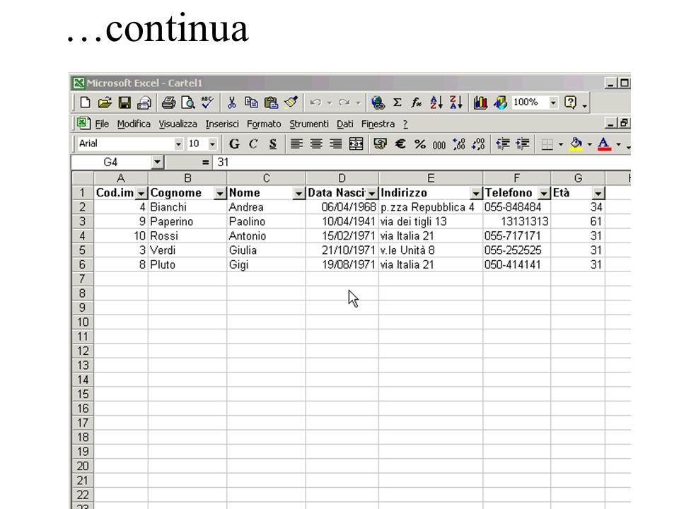 147 …continua Esempio di opzioni: -(Primi 10…) criterio di limitazione inferiore o superiore per elemento o per percentuale