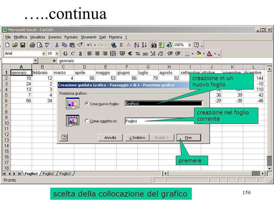 156 …..continua scelta della collocazione del grafico creazione in un nuovo foglio creazione nel foglio corrente premere