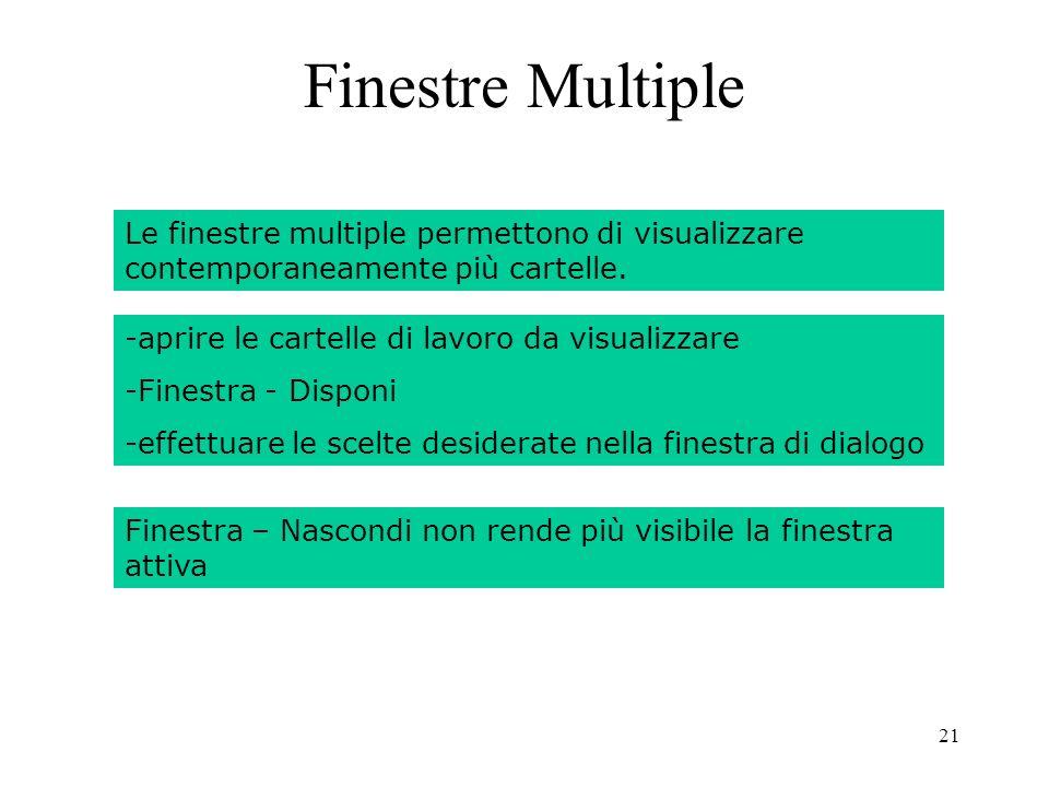 21 Finestra – Nascondi non rende più visibile la finestra attiva Finestre Multiple Le finestre multiple permettono di visualizzare contemporaneamente più cartelle.