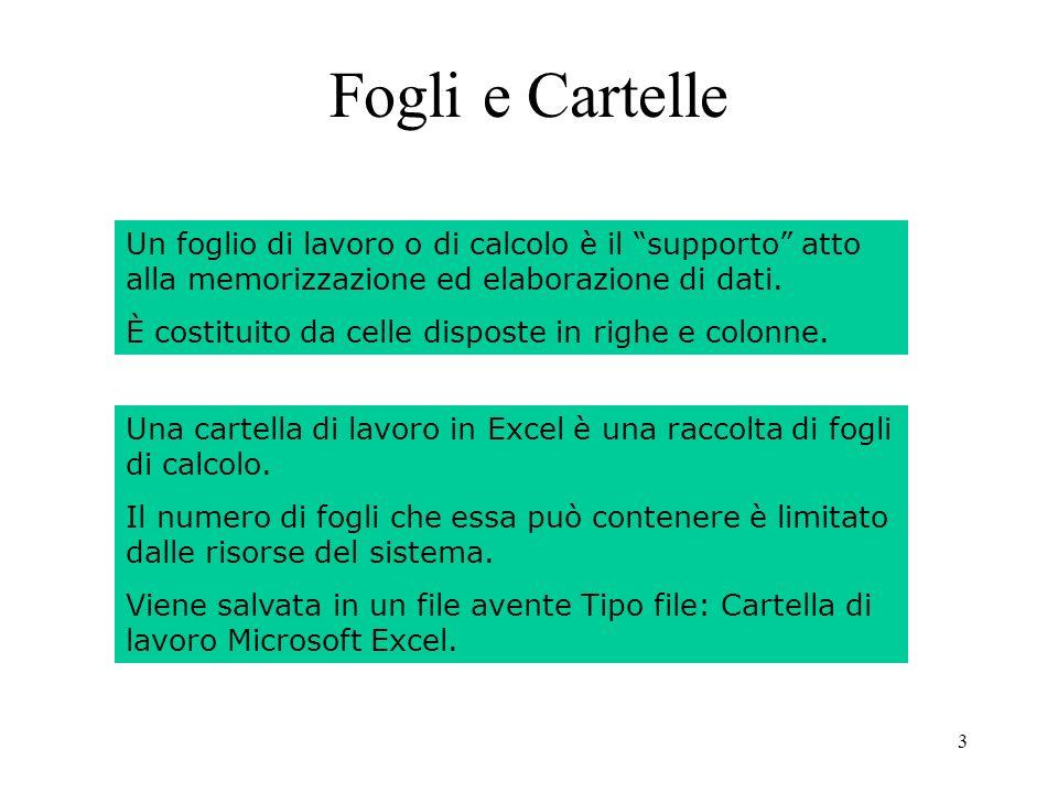 54 Riferimenti a Celle di Fogli diversi Una formula può contenere riferimenti a celle di fogli diversi.