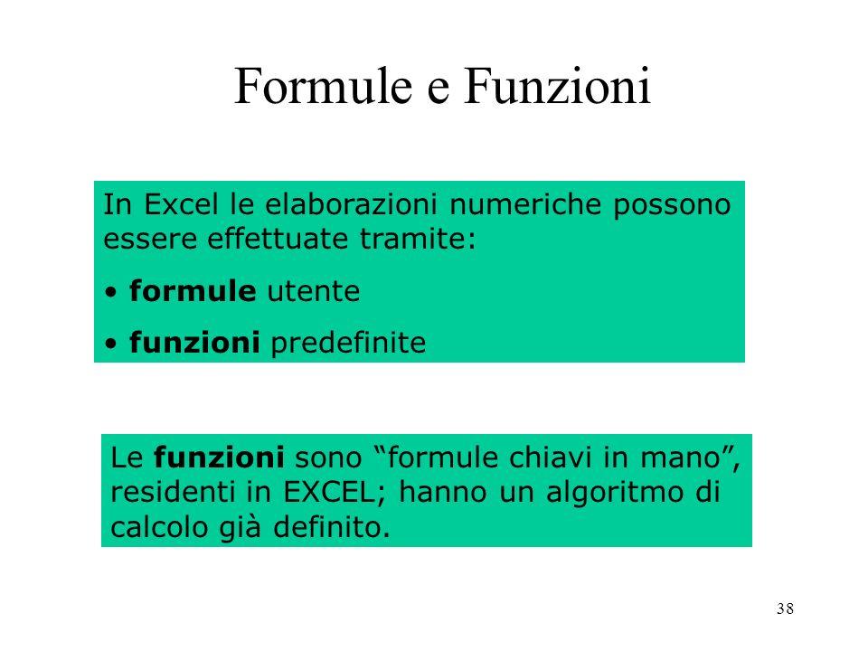 38 Formule e Funzioni In Excel le elaborazioni numeriche possono essere effettuate tramite: formule utente funzioni predefinite Le funzioni sono formule chiavi in mano, residenti in EXCEL; hanno un algoritmo di calcolo già definito.