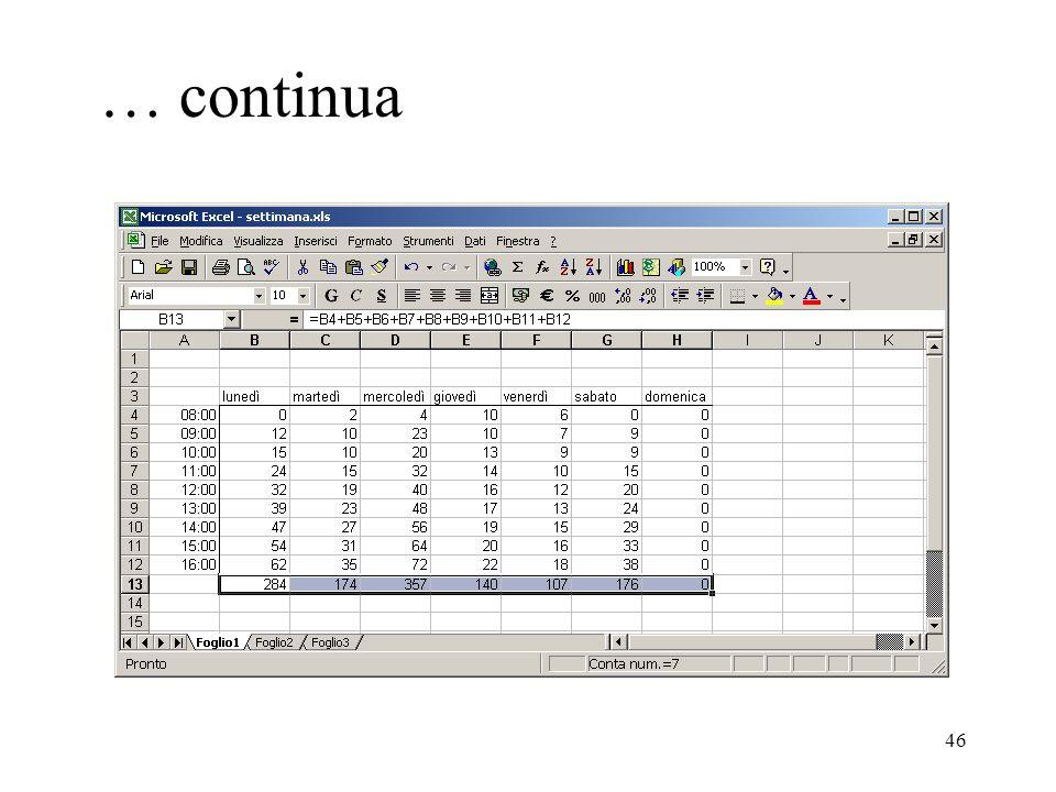46 … continua Esiste un modo di copiare celle (e quindi formule) molto utile per copiare formula su celle adiacenti.