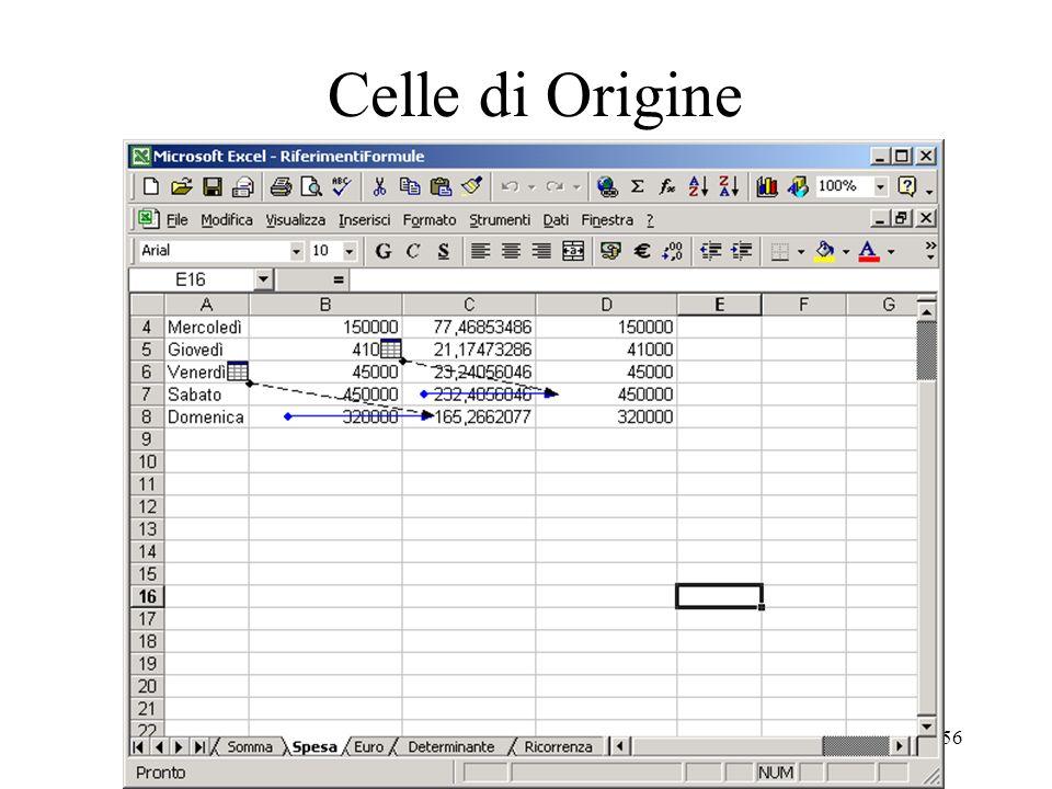 56 Celle di Origine Con il termine celle di origine o precedenti si intendono le celle referenziate da un foglio di lavoro.