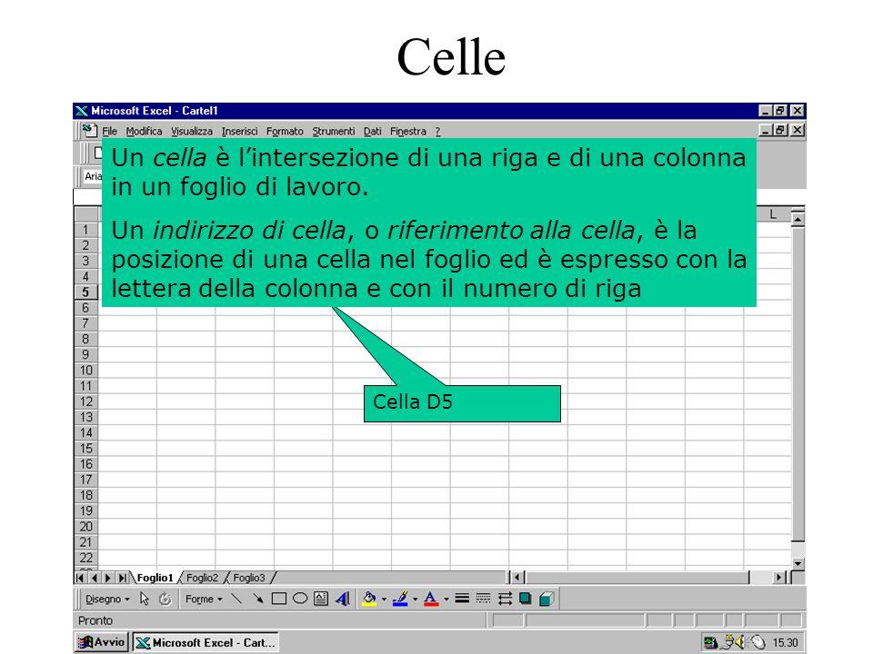 6 Cella D5 Celle Un cella è lintersezione di una riga e di una colonna in un foglio di lavoro.