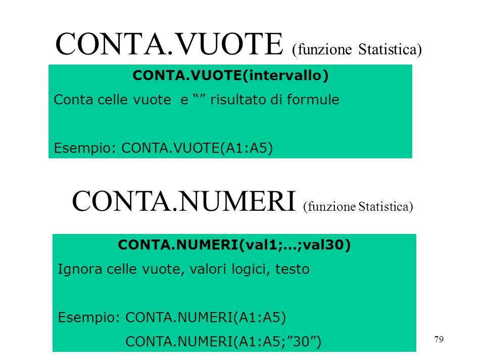 79 CONTA.VUOTE (funzione Statistica) CONTA.VUOTE(intervallo) Conta celle vuote e risultato di formule Esempio: CONTA.VUOTE(A1:A5) CONTA.NUMERI(val1;…;val30) Ignora celle vuote, valori logici, testo Esempio: CONTA.NUMERI(A1:A5) CONTA.NUMERI(A1:A5;30) CONTA.NUMERI (funzione Statistica)