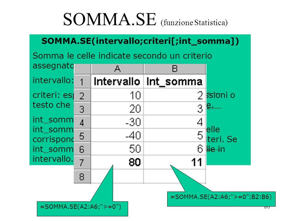 80 SOMMA.SE (funzione Statistica) SOMMA.SE(intervallo;criteri[;int_somma]) Somma le celle indicate secondo un criterio assegnato.