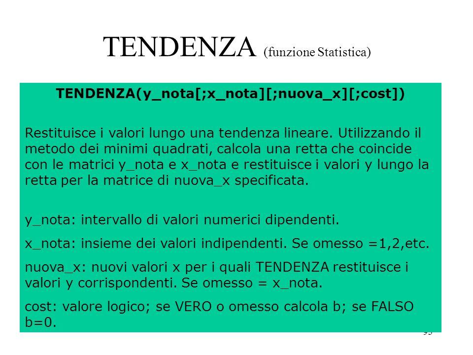 93 TENDENZA (funzione Statistica) TENDENZA(y_nota[;x_nota][;nuova_x][;cost]) Restituisce i valori lungo una tendenza lineare.