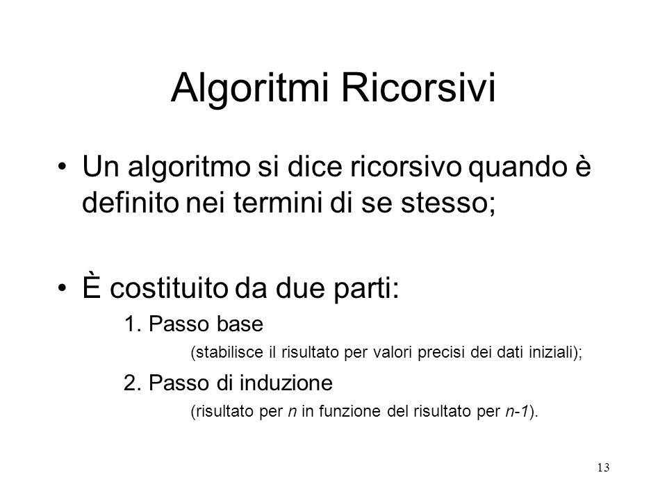 13 Algoritmi Ricorsivi Un algoritmo si dice ricorsivo quando è definito nei termini di se stesso; È costituito da due parti: 1. Passo base (stabilisce