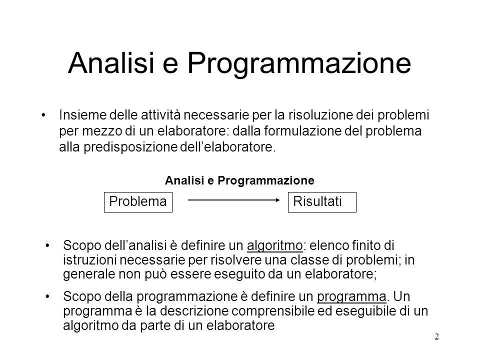 2 Analisi e Programmazione Insieme delle attività necessarie per la risoluzione dei problemi per mezzo di un elaboratore: dalla formulazione del probl