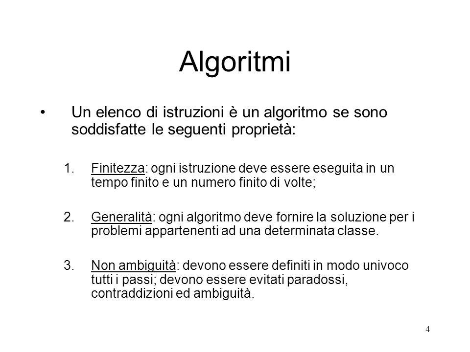 4 Algoritmi Un elenco di istruzioni è un algoritmo se sono soddisfatte le seguenti proprietà: 1.Finitezza: ogni istruzione deve essere eseguita in un