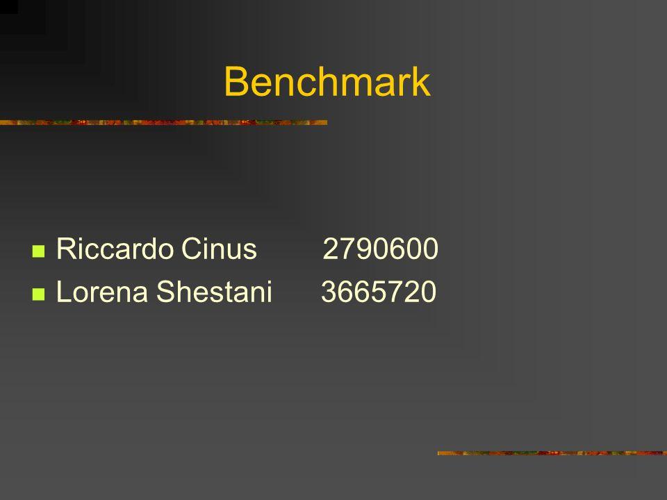 Benchmark Riccardo Cinus 2790600 Lorena Shestani 3665720